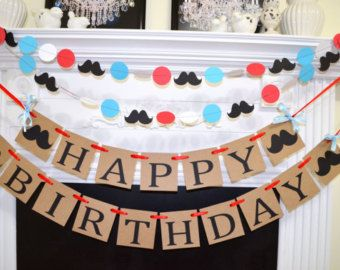 Happy Birthday Banner, vintage birthday decor, mustache birthday decoration, red white blue party decor unisex birthday, birthday garland,