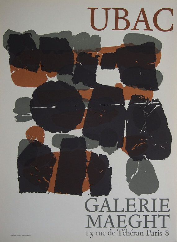 ORIGINAL EXHIBITION POSTER 1966 * For Raoul Ubac exhibition * Galerie Maeght, Paris 1966 * Gallery Quality Printed by Arte Paris * Overall