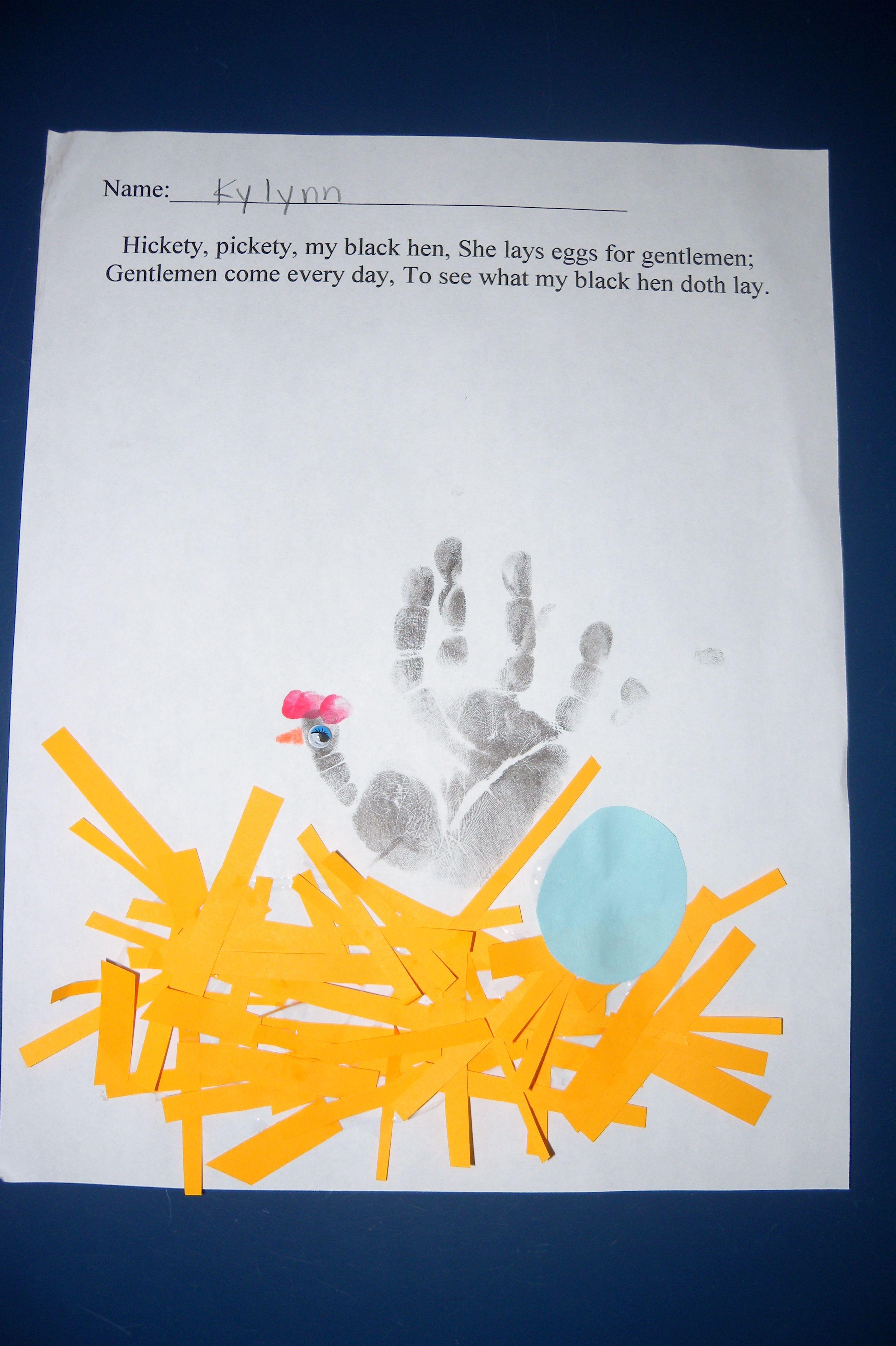 Hickety Pickety My Black Hen Handprint Craft