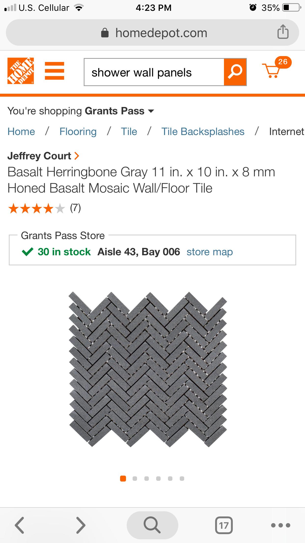 honed basalt wall and floor mosaic tile