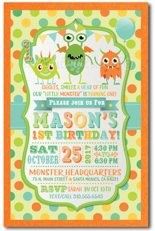 Little Monster 1st Birthday Invitation DI 377 Custom Invitations And Announcements For All Occasions By Delight Invite