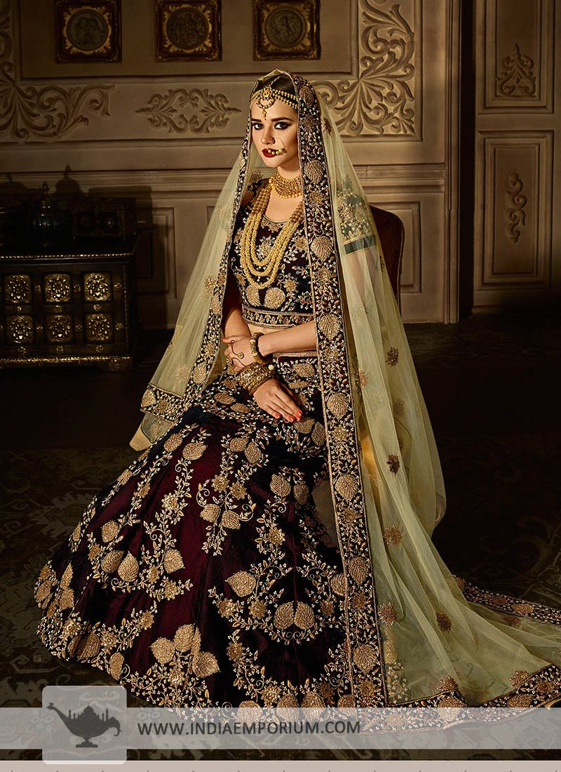 77c4cfc880 Attractive Maroon & Pista Green #embroidered idered #Bridal #Lehenga #Choli