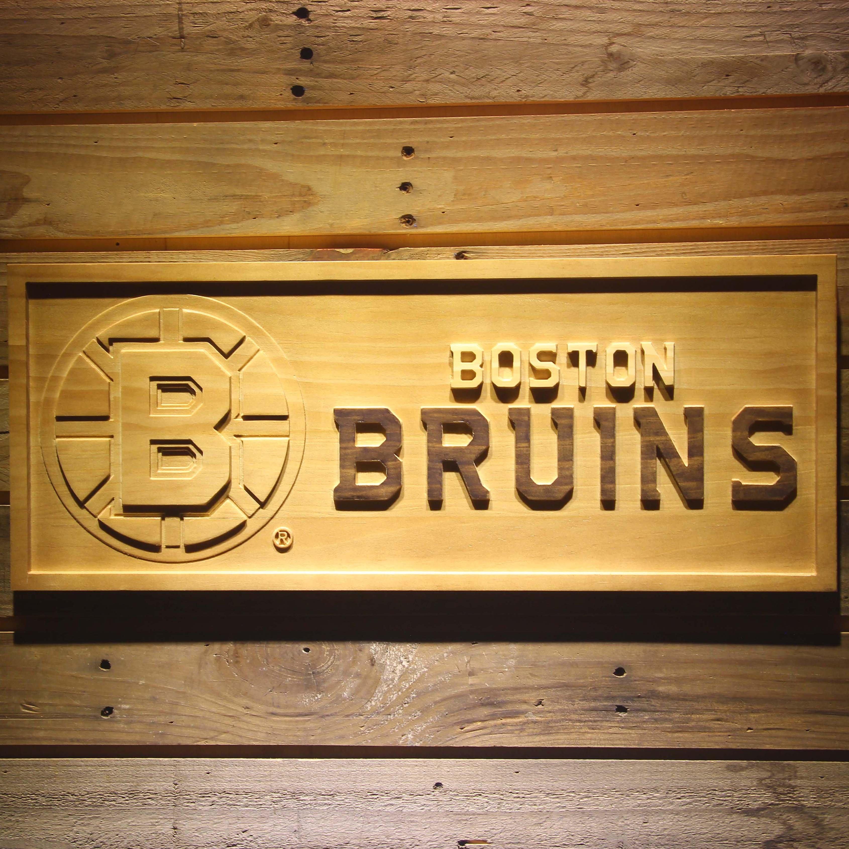 Boston Bruins 3d Wooden Engraved Nhl Team Logo Wooden Signs Boston Bruins Wooden