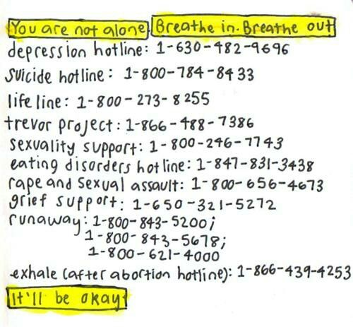 National Hotlines For Those Of You In America I M Guessing