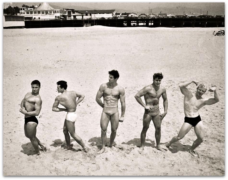 Vintage Photos of Acrobatics on Bondi Beach, Australia, ca
