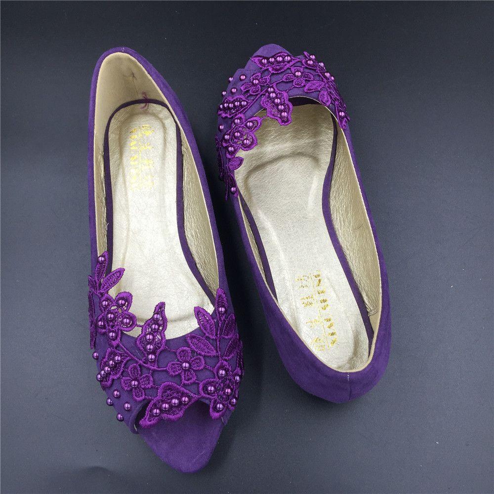 Purple Peep Toe Bridal ShoesPurple Open Bridesmaid Shoeswedding Flat Shoe