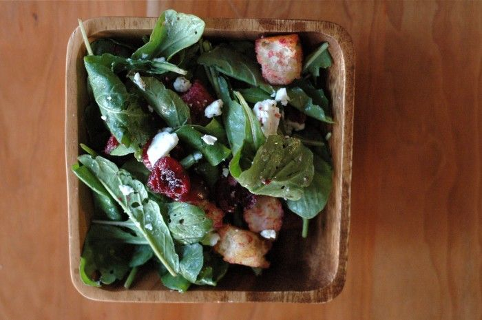Bread salad with cherries, arugula and goat cheese. Adapted by @Stacy Stone Stone Stone Ladenburger
