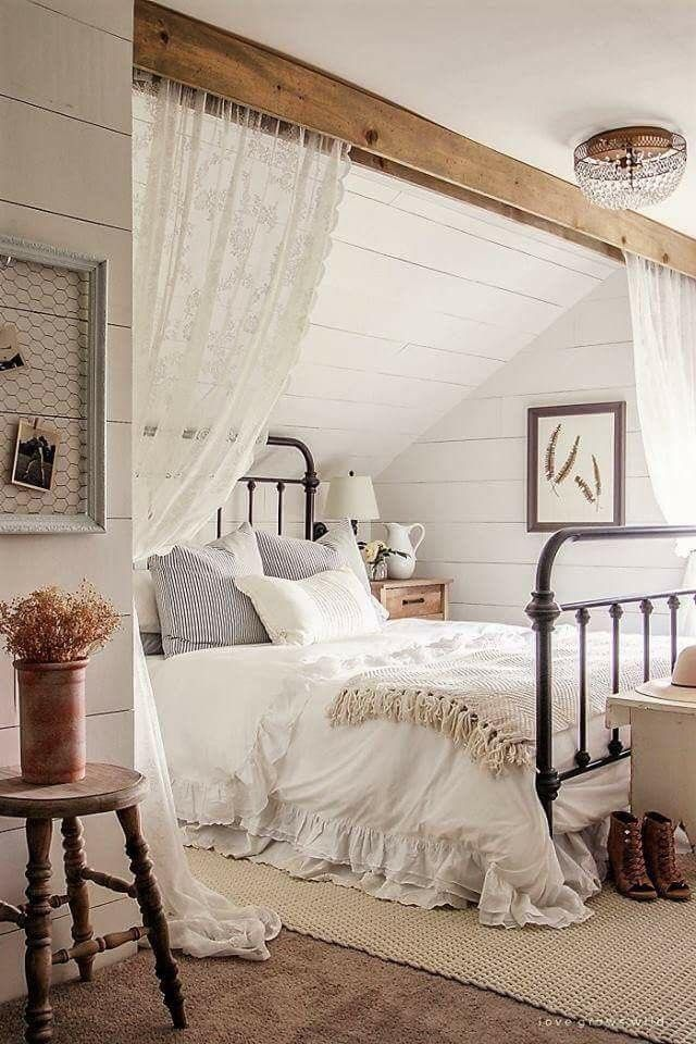 Dreamy Country Farmhouse Bedroom With Beam Ceiling New