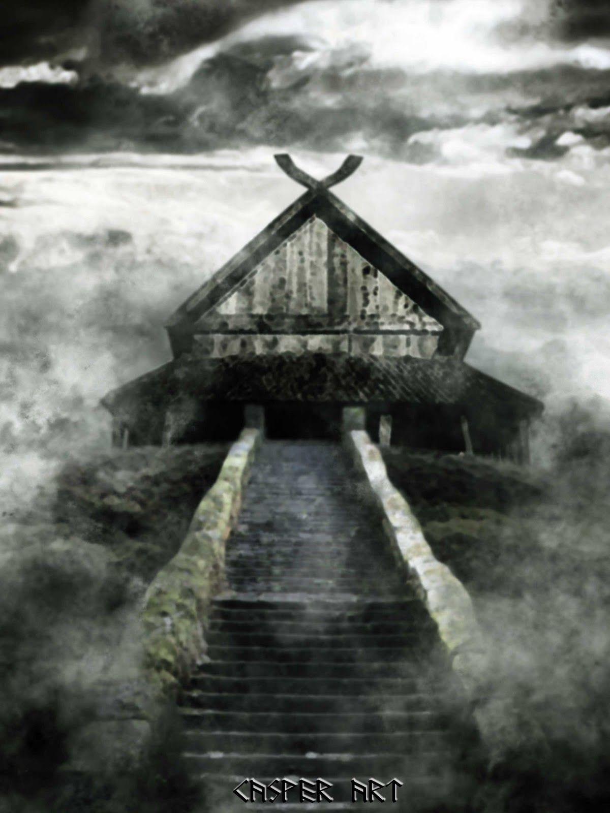 longhouse on a hill Mythical creatures, Norse, Vikings