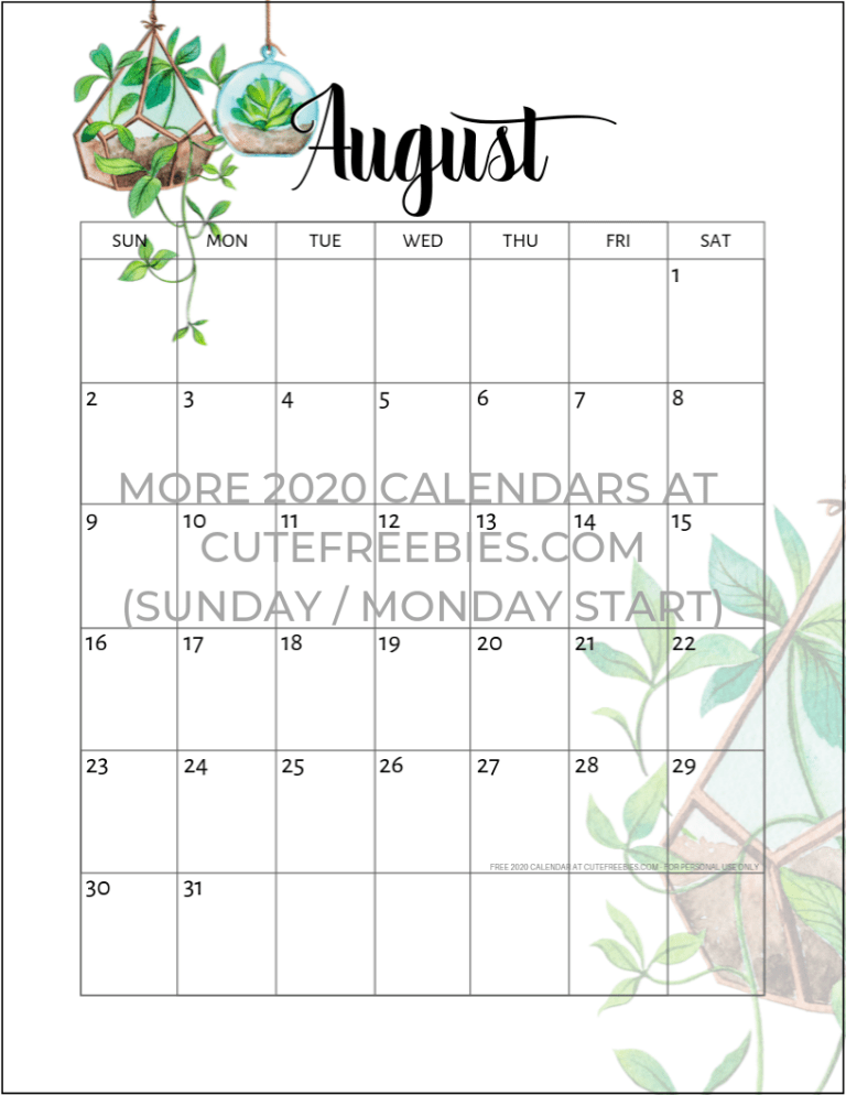 Calendario Contest Hf 2020.2019 2020 Calendar Free Printable Plants Theme Cute
