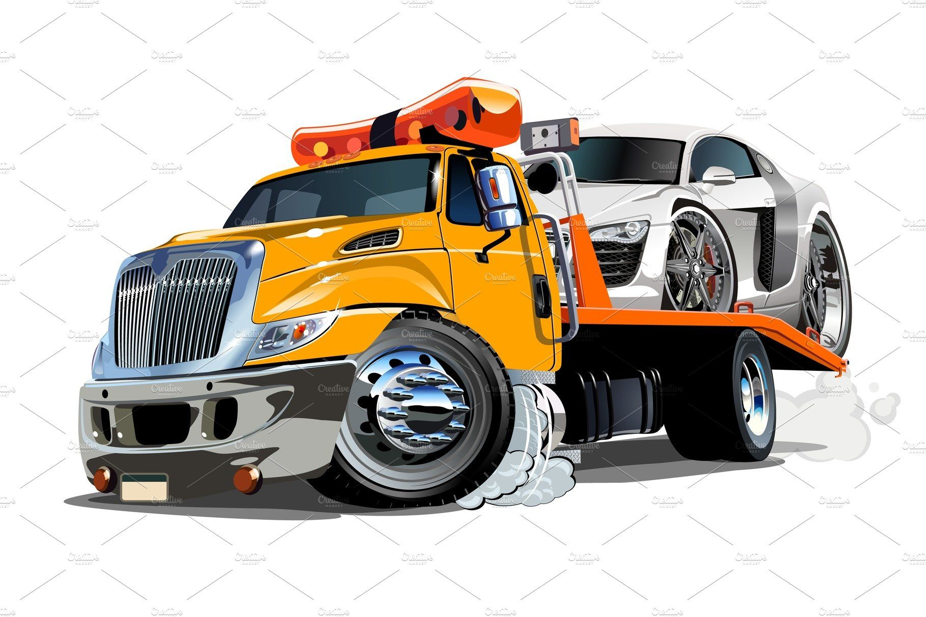 Cartoon Tow Truck Isolated On White Tow Truck Trucks Towing