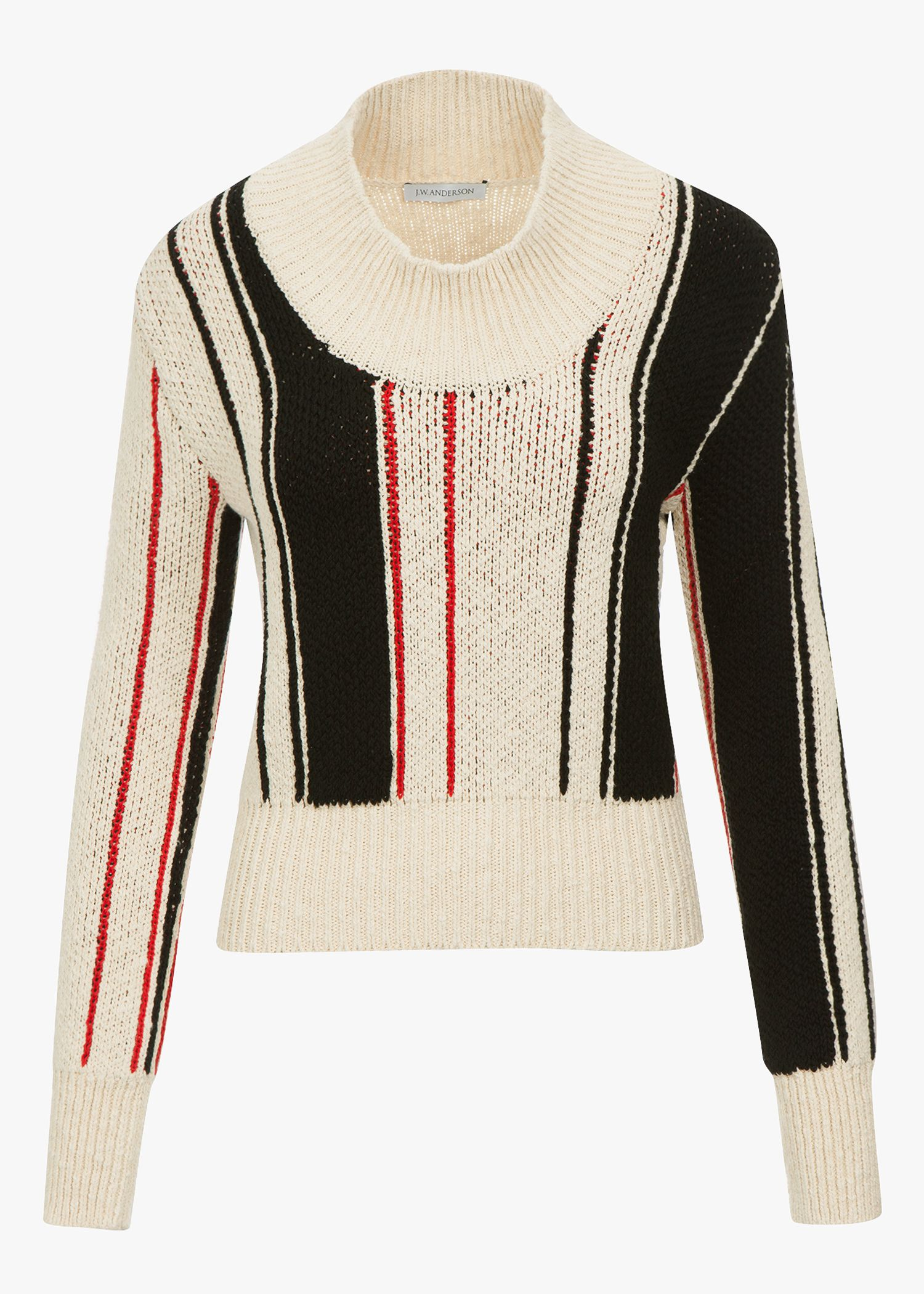 J.W.Anderson - Off-White Striped Scoop Sweater   Knit