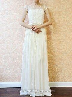 Short Sleeve Ivory Lace Chiffon Scoop Neck Floor-length Wedding Dress -NZ$365.69