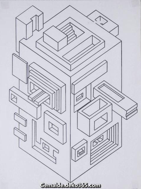 GrundrissSchrägbild Fantasiegebäude Geometría, Dibujos