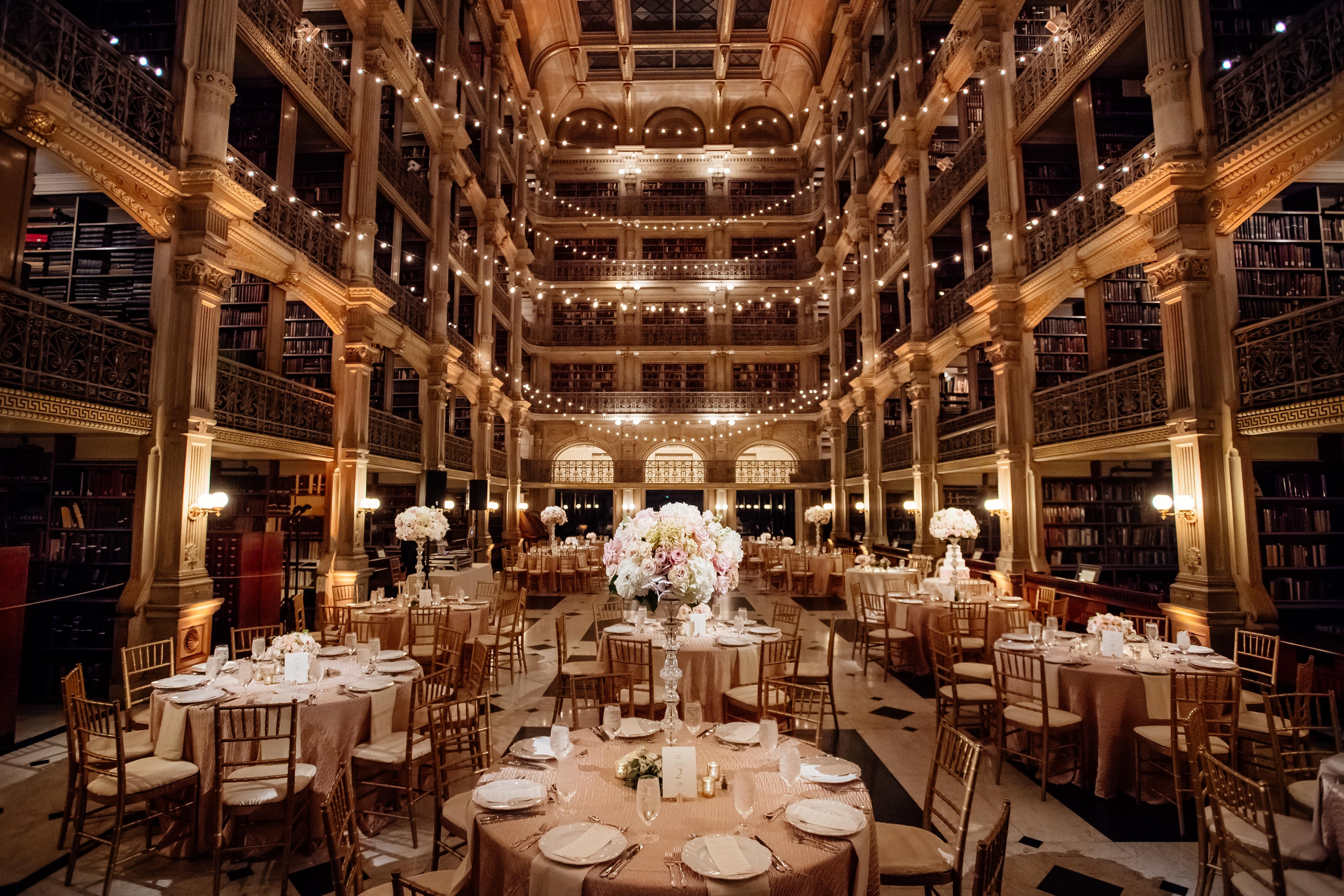 Cafe Lights At Reception In Baltimore Cafe Lights George Peabody Library Library Wedding