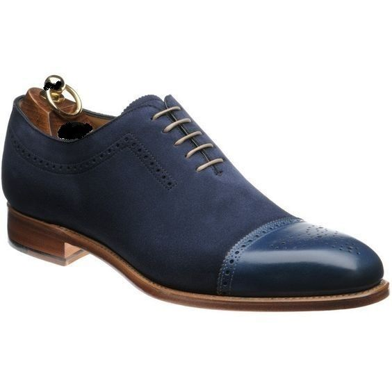 Handmade Men Blue Shoes, Oxford Formal Dress Suede & Leather Shoes is part of Oxford shoes men, Formal shoes for men, Suede leather shoes, Leather shoes men, Mens formal dress shoes, Derby shoes - Color just send us message we will make for you  						 							 							Measurement 							 							Size  (required measurement for better fit) We can custom make these Boots in ALL sizes; the standard measurements are given in SIZE CHART IMAGE  Please feel free to ask size related queries  You can also provide us with your exact measurements to get the best fit Boots for yourself  							 								Foot length  								Instep circumference  								Joint circumference 							 							 							 Choose Correct Size 							 							 							Our size is according to foot length   please choose size according to foot length    							99% buyers choose right size by measuring the foot length   							Let's choose the correct size according to the four steps below  							 							 								Step 1 Prepare a blank paper  								Step 2 Place your foot on the blank paper 								Step 3 Mark the end of your heel and the tip of your longest toe 								 								Step 4Measure the length with a ruler and find out the size using size chart in attached picture  								 							 							 							Seller Message 							 							We take pride in designing and supplying also the premium quality leather Boot to our customers  We also specialist in making custom design shoes and boot  							There may be a slight variation in color due to photography light effects and computer color resolution but colors will be used matching the Originals  							<