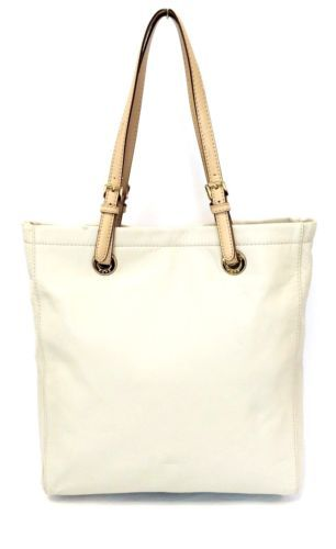 d029898135d2 Michael Kors Jet Set Vanilla North South Leather Tote