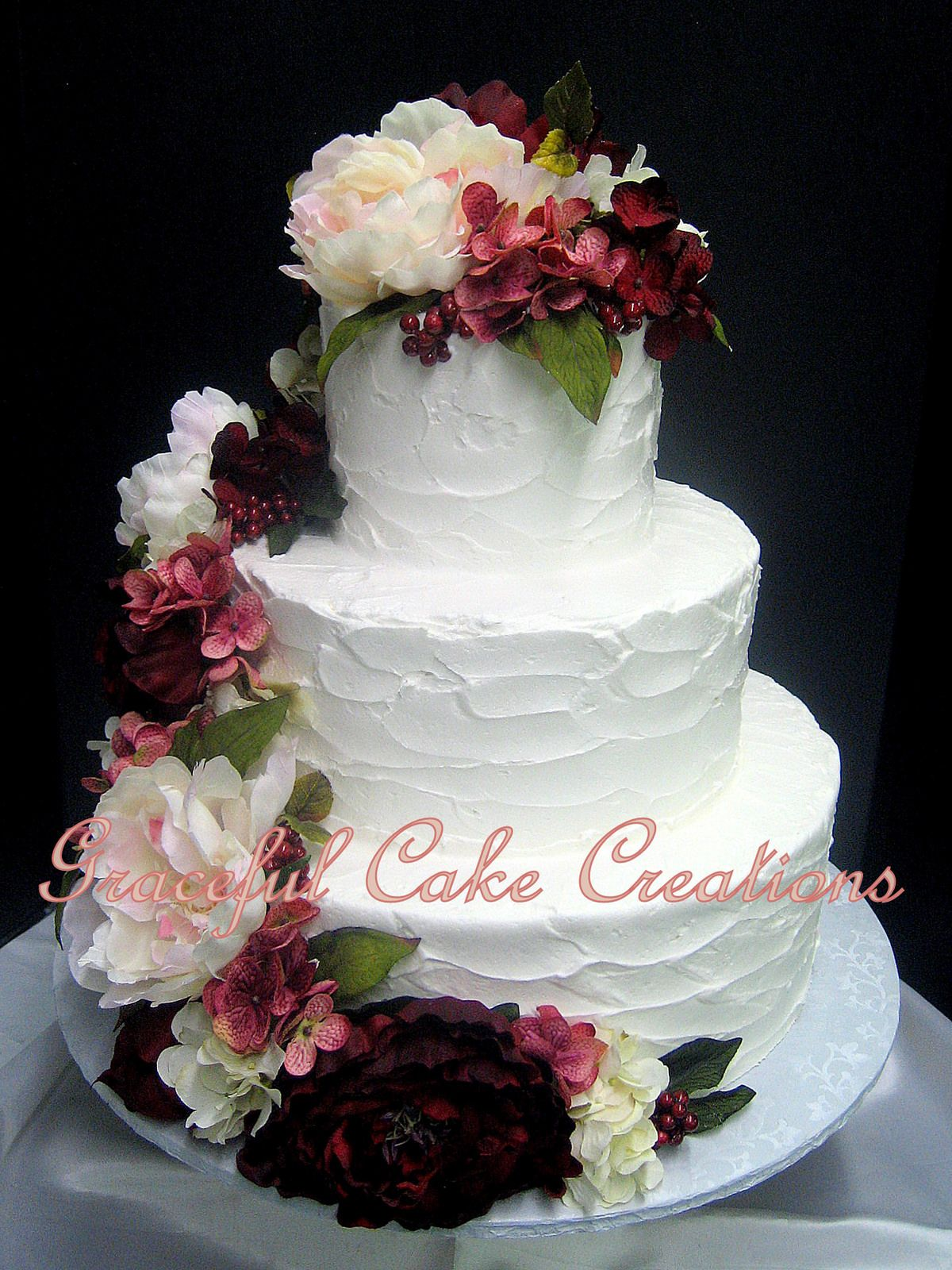 Elegant Textured Butter Cream Wedding Cake accented with