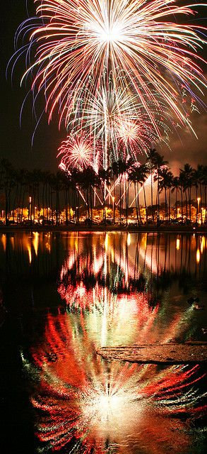 Fireworks offshore ala moana beach park, Honolulu, Hawaii, would love to be here on the 4th of july , i love fire works even more then they are set off my the water and being able to enjoy double the beauty from them and i just love being my the water,it put me at peace and calms my soul.