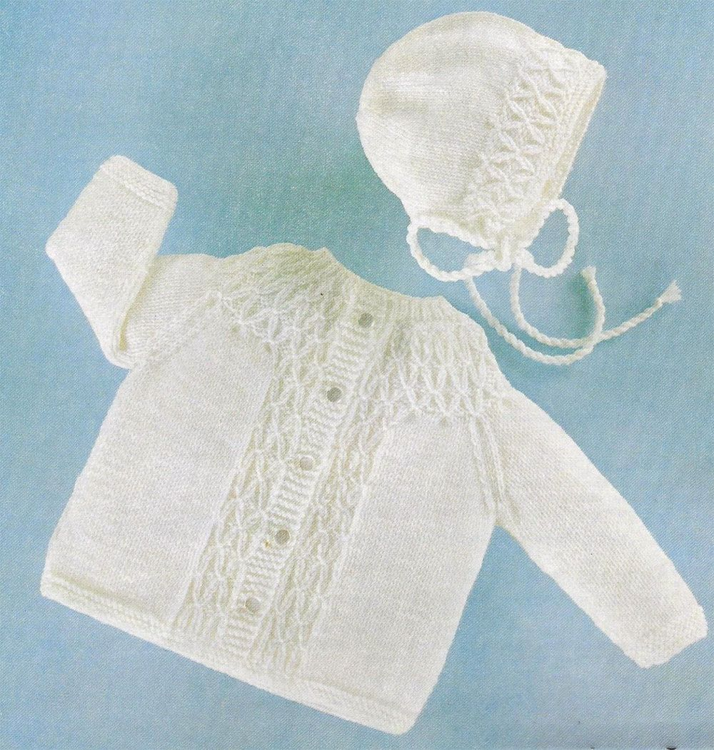 PDF Instant Digital Download baby smocked jacket & bonnet knitting ...