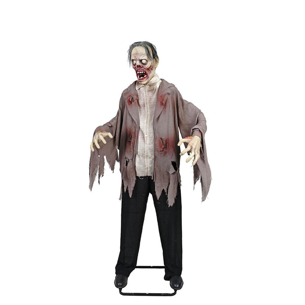 72 In Halloween Kd Zombie With Led Eyes 8330 72992hd The Home Depot Halloween Props Scary Halloween Props Flying Witch