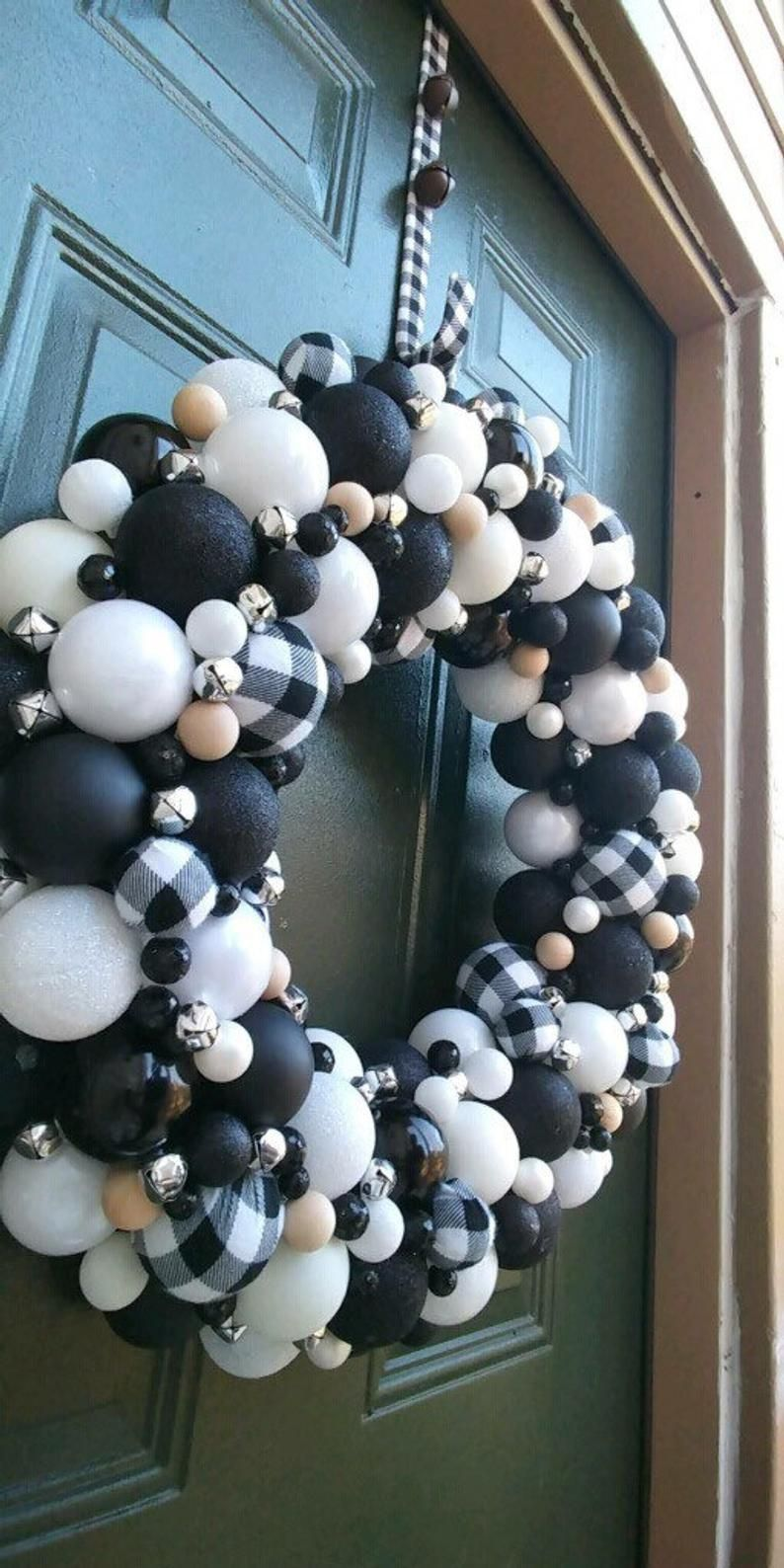 Gorgeous Handmade Buffalo Check Ornaments, Black, and White Christmas Ornament Wreath! Bauble Wreath! Holiday Wreath! Ornament Wreath!