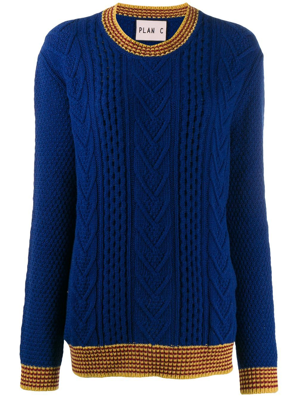 Plan C cable knit jumper - Blue