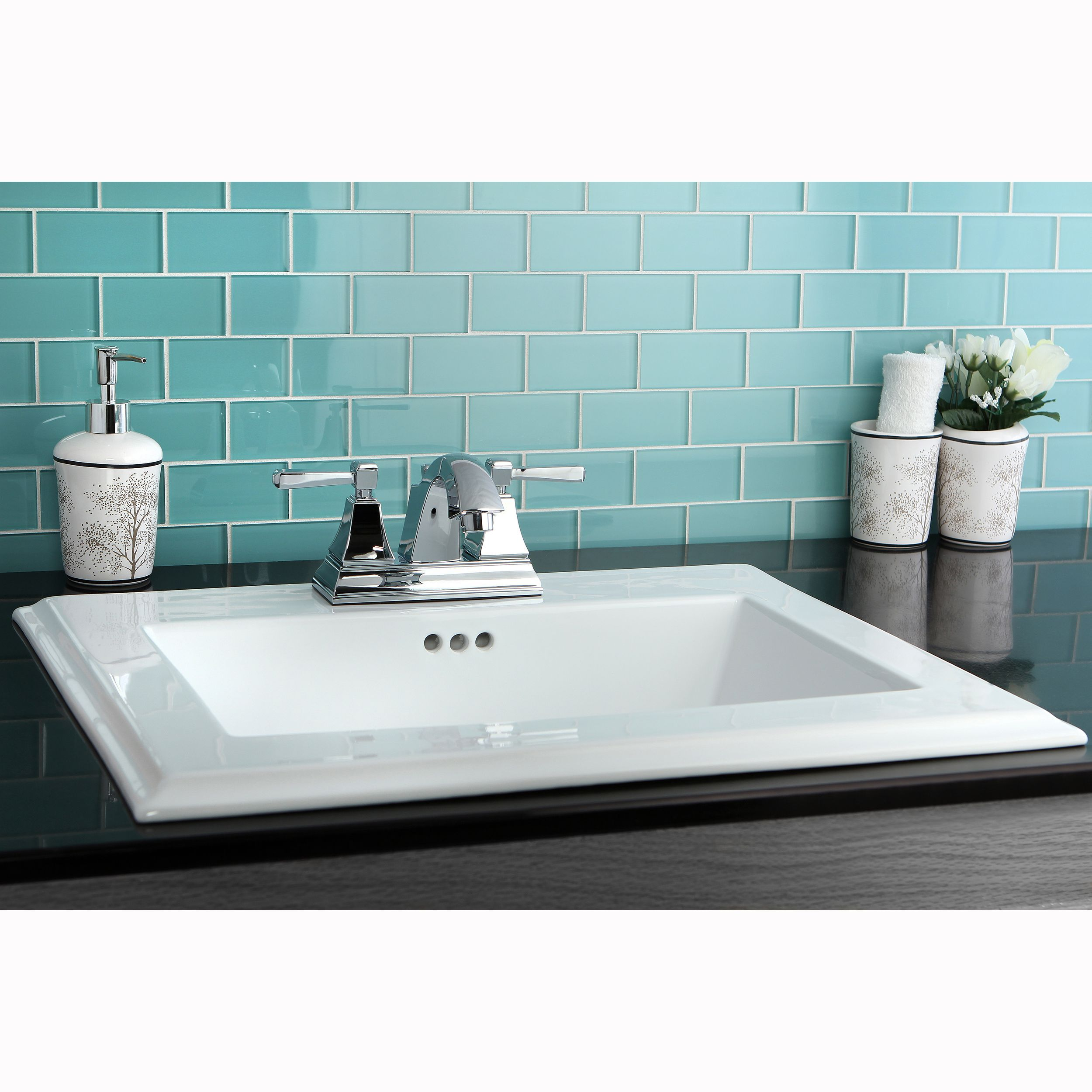 Surface mount 4 inch center bathroom sink by kingston for Bathroom design kingston