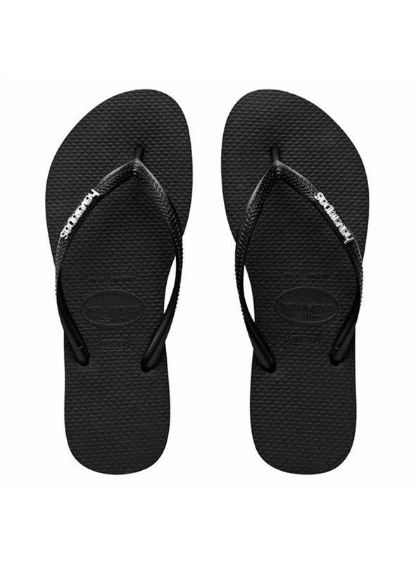 4237aeab6cf571 Havaianas Slim Metal Logo Black
