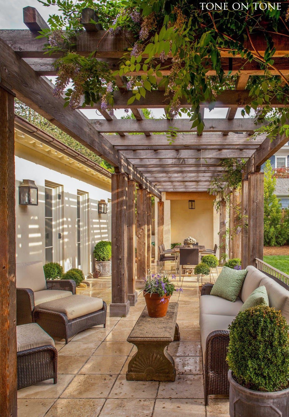 Stunning garden design arbor outdoor living from for Terrace pergola