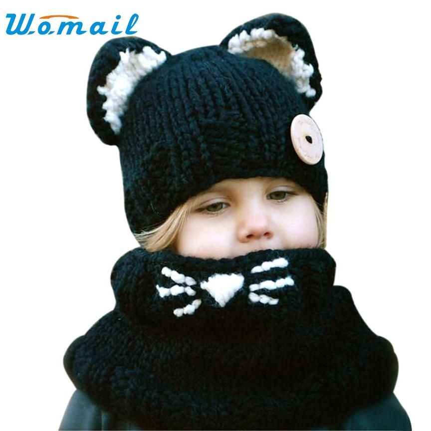 faa68165477 Jenny Shop Winter Kids Warm Fox Animal Hats Knitted Coif Hood Scarf Beanies  For Autumn Winter