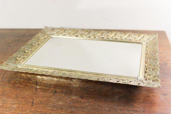 Vintage Rectangular Mirror Dresser Vanity Tray Gold Filigree Dresser Mirror Tray Display Make U Dresser With Mirror Mirror Tray Mirror