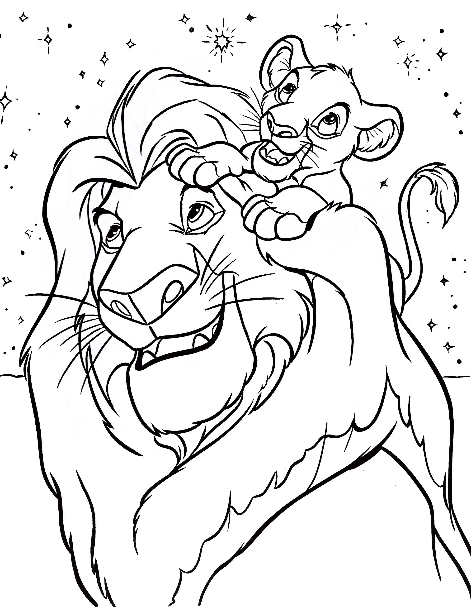 Disney coloring pages mufasa simba walt characters photo thingkid