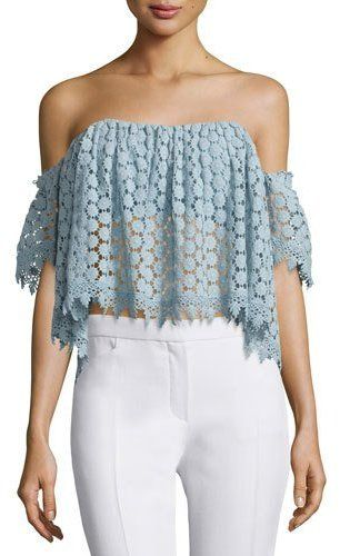 899721a269e122 Off-the-shoulder and crochet  We love this Tularosa top!