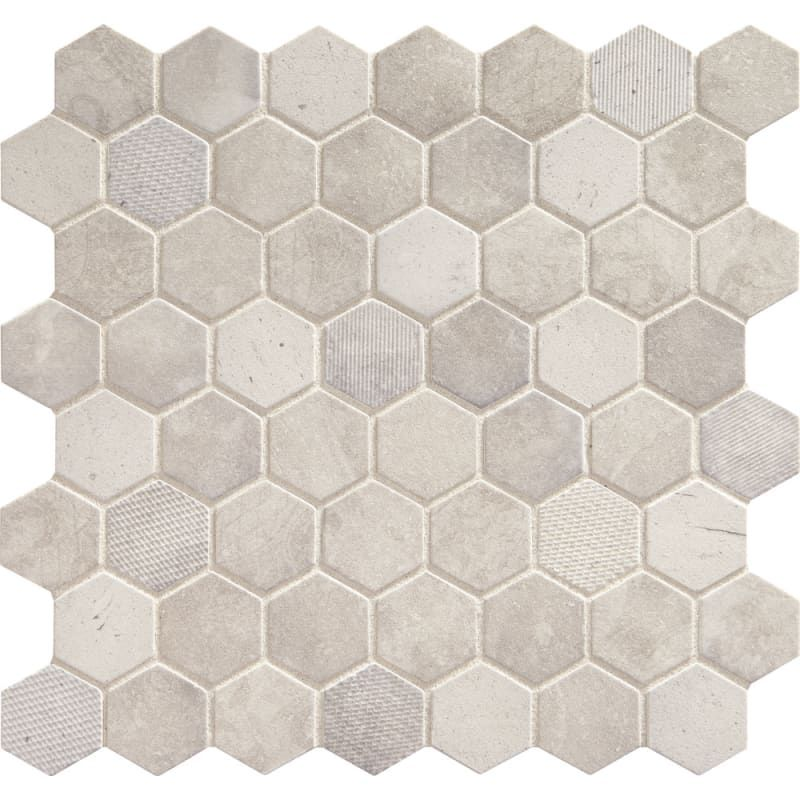 Daltile Vh0615hexms1p Wisdom White Vintage Hex 1 1 2 Inch Hexagonal Wall Floor Mosaic Tile Semi Gloss Limestone Visual In 2020 Hexagonal Mosaic Daltile White Glass Mosaic