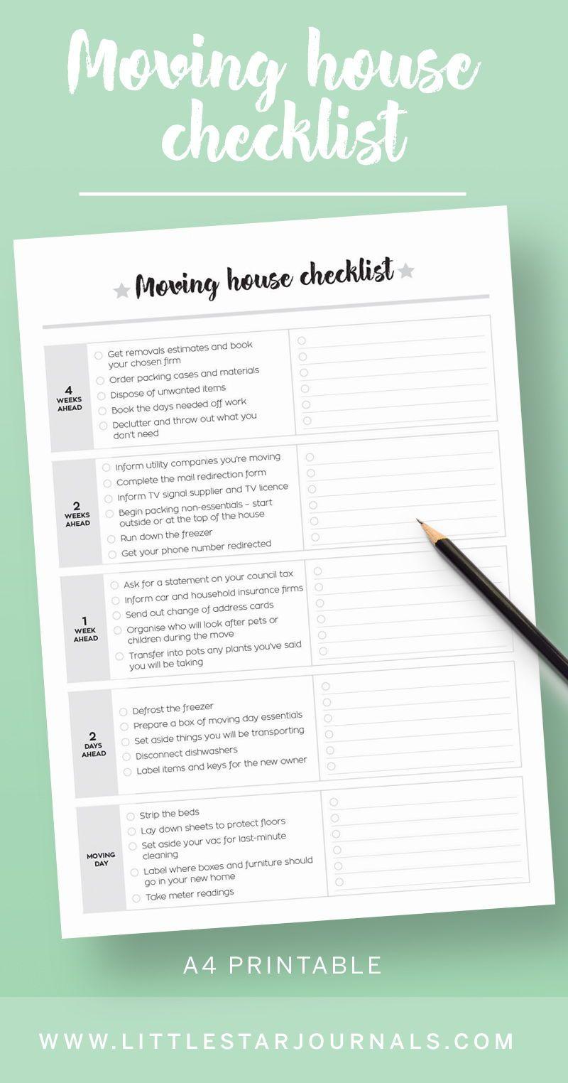 Printable Moving House Kit Little Star Journals Moving House Moving House Checklist Moving Checklist Printable