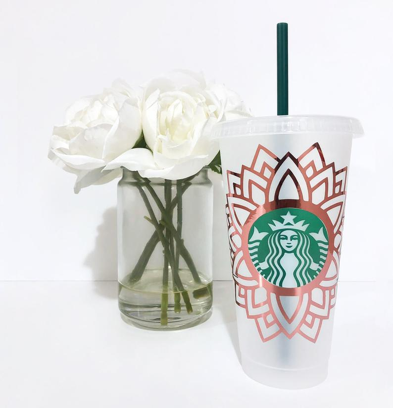 Mandala Flower Starbucks Cold Cup SVG Files Cricut