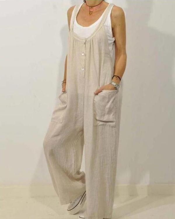 Solid Color Loose Straps Button Jumpsuit With Pocket, Khaki / US12 Gallery