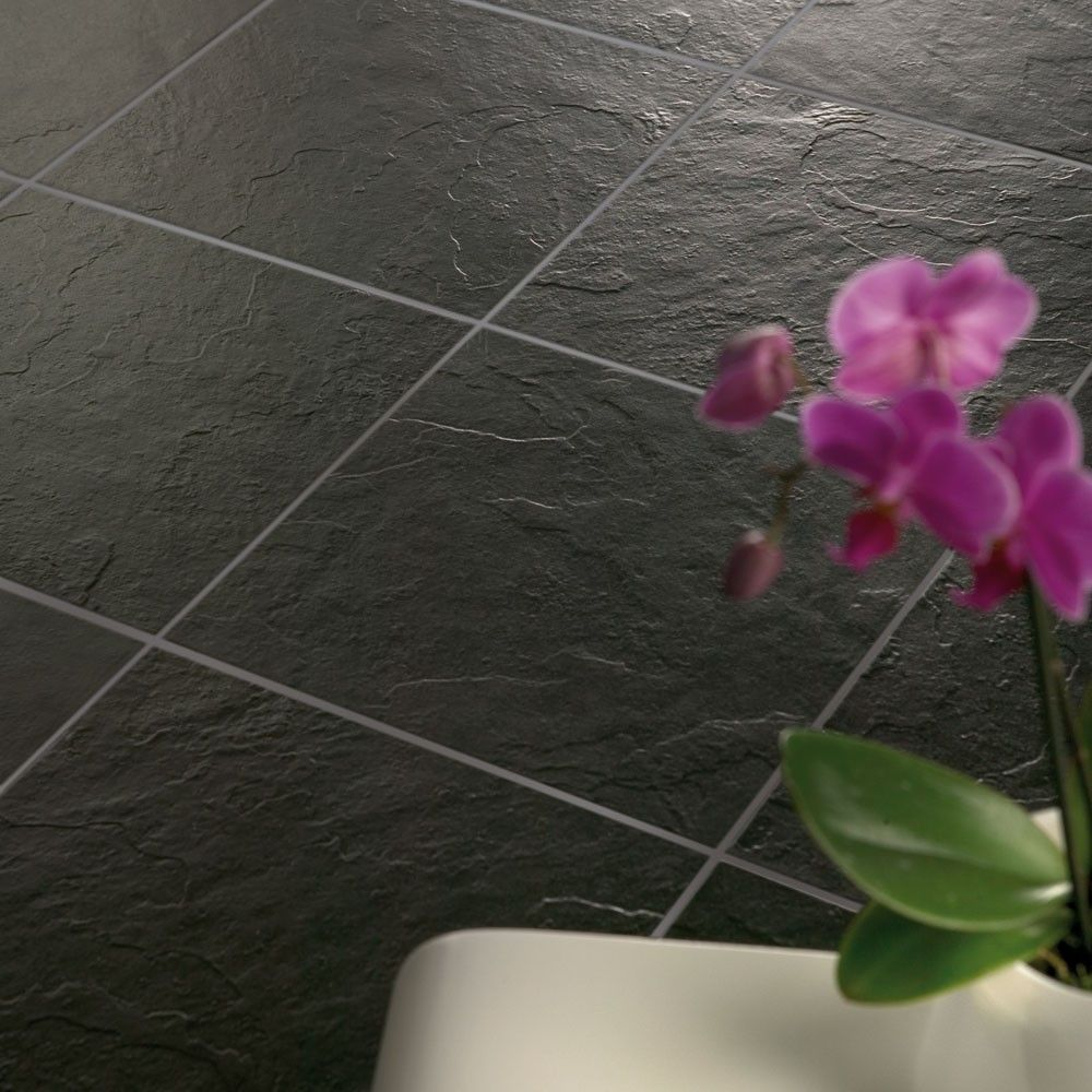Shower Room Floor Kuala Black Floor Tiles Slate Effect Tiles