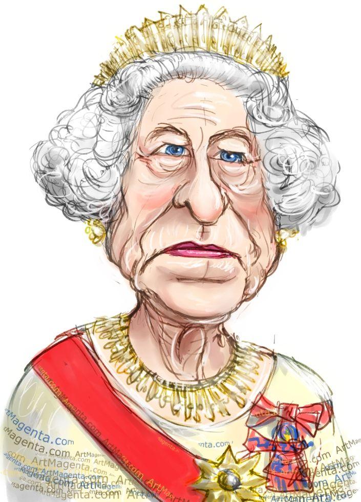 Queen Elizabeth Ii Caricature Cartoon Portrait Drawing By Caricaturist Artmagenta Queen Elizabeth Caricature Queen Elizabeth Ii