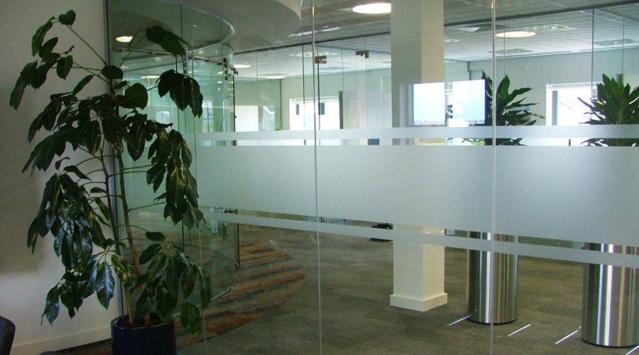 Frosted Stripes To Office Glass Partition Walls For Safety