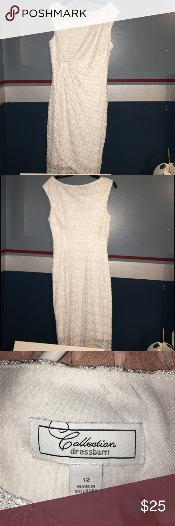 Dress barn white lacey dress Size 12. Dress Barn White lacy dress. Perfect for a bridal shower! Dress Barn Dresses