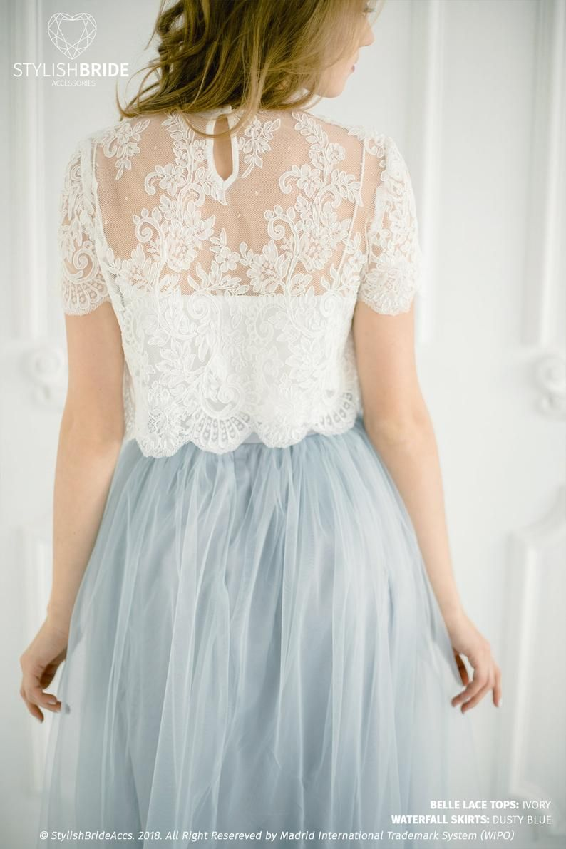 Belle Wedding Lace Crop Top White Or Ivory Lace Crop Top Etsy Tulle Bridesmaid Dress Bridesmaid Tops Bridesmaid Skirts [ 1191 x 794 Pixel ]