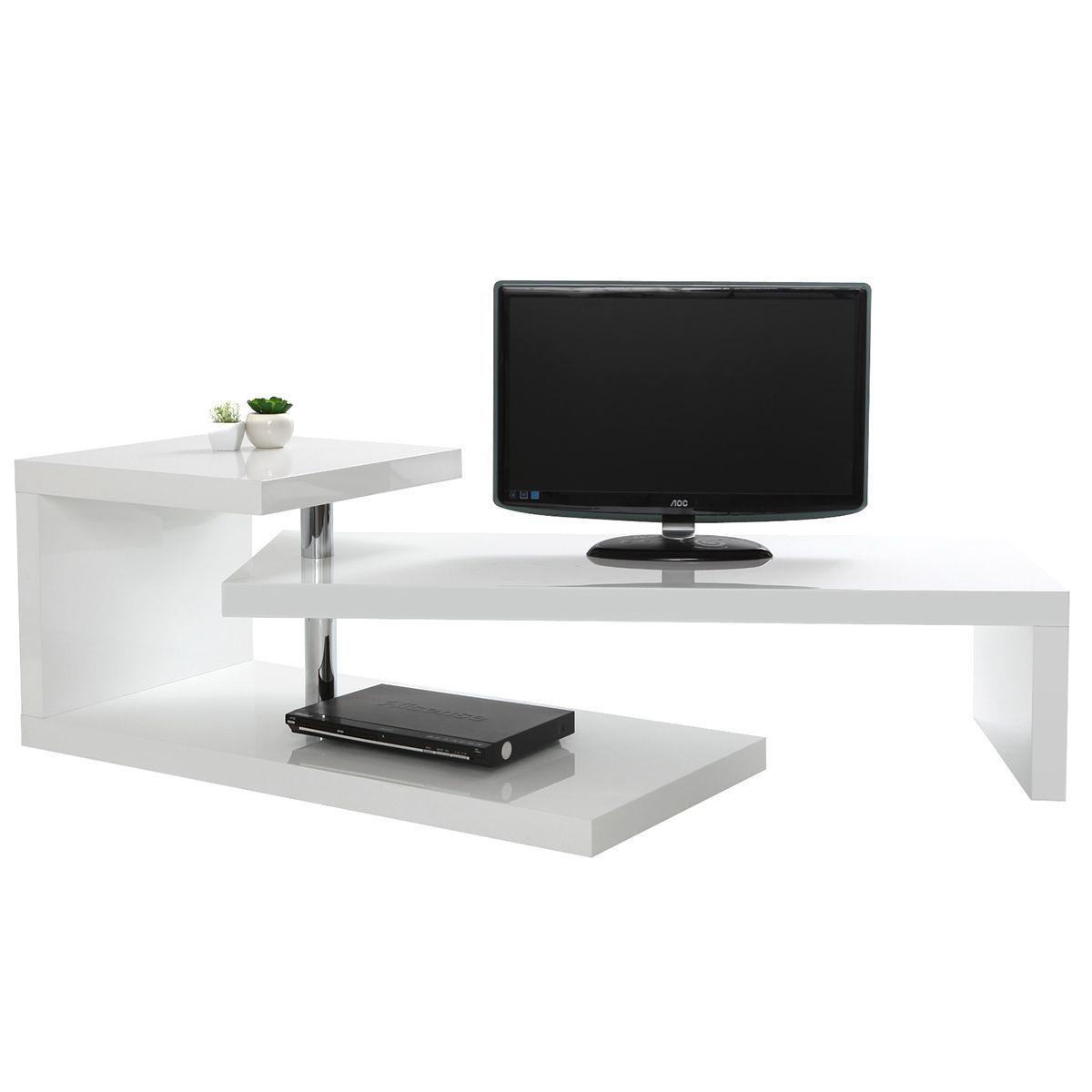 Meuble Tv Design Laque Blanc Turn Taille Taille Unique En 2020 Meuble Tv Design Meuble Tv Design Laque Et Meuble Tv