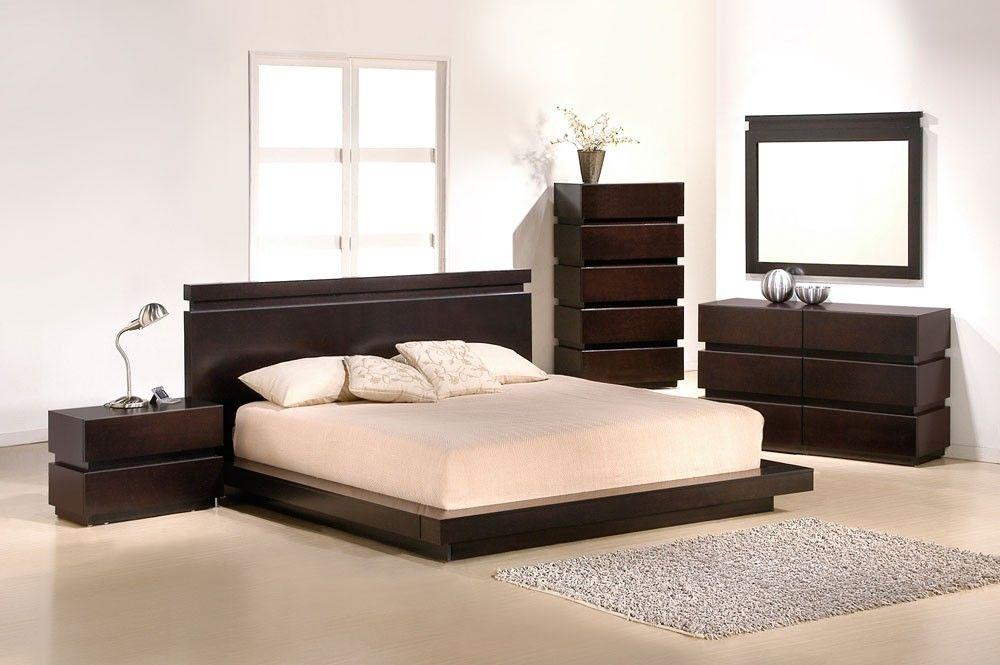 Contemporary King Bedroom Set With Dark Wood Furniture Platform Bedroom Sets King Size Bedroom Sets King Bedroom Sets