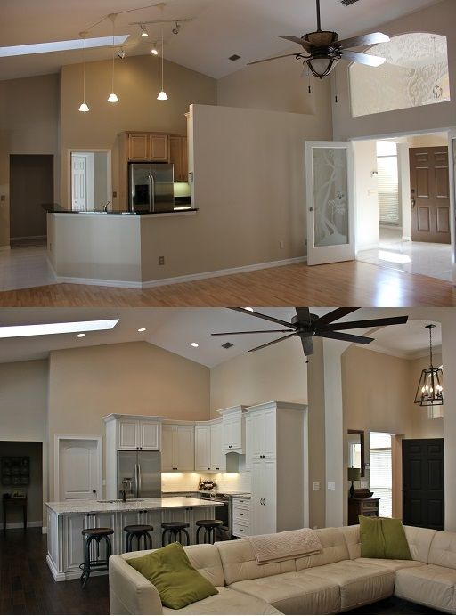 Another before and after picture of kitchen renovation - Remodeling living room and kitchen ...