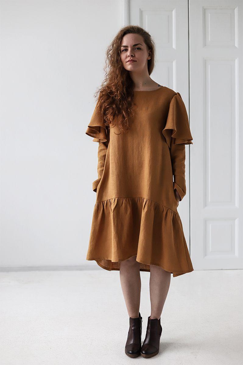 fc8a5555dd Linen Dress   Ruffled Linen Dress   Knee Length Linen Dress   Soft Washed Linen  Dress   Women Swing Linen Dress   Long Sleeve Linen Dress