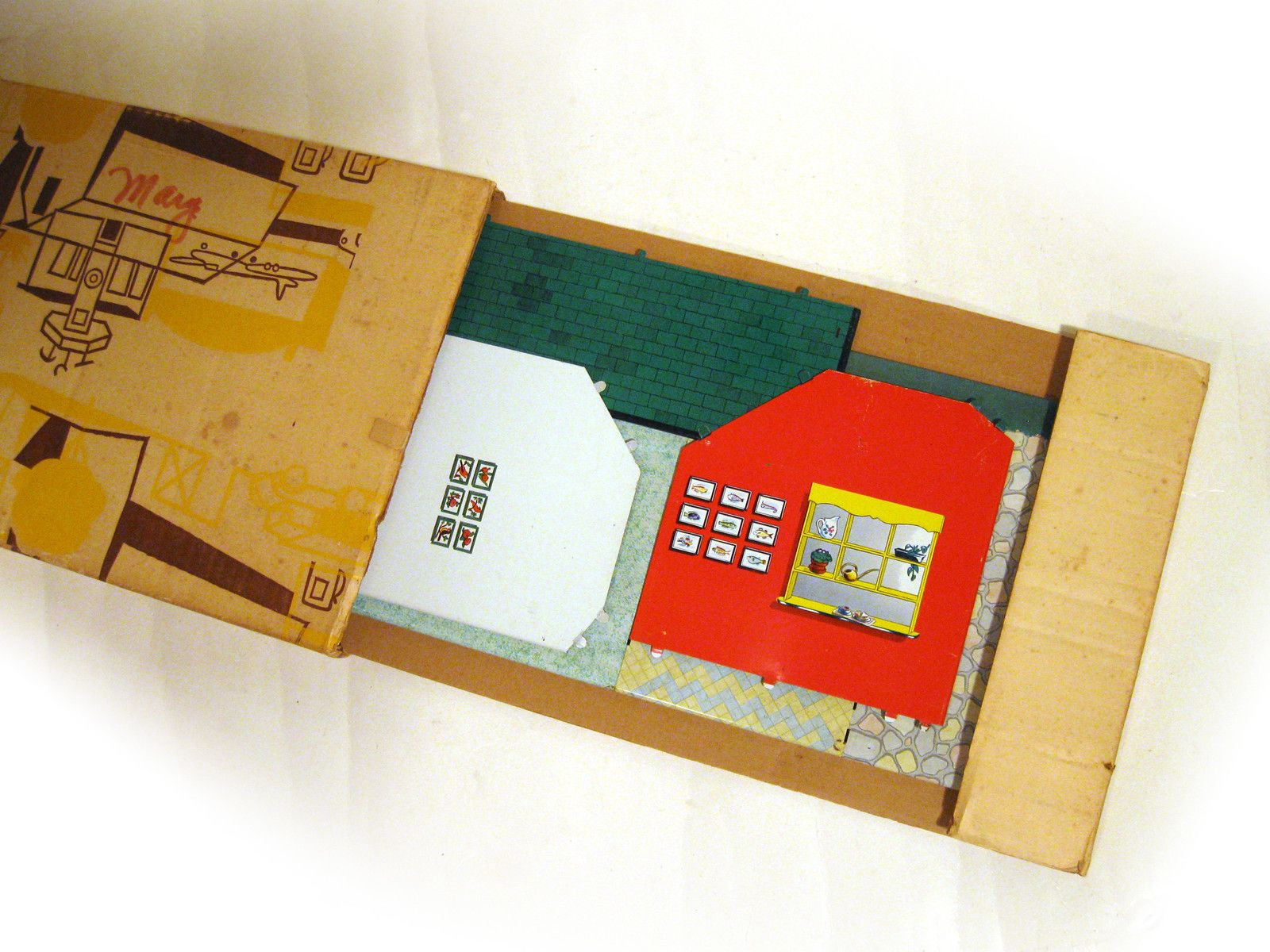1950s Tin Litho Pink Sears Exclusive Midcentury Modern Dollhouse EXC in Box | eBay