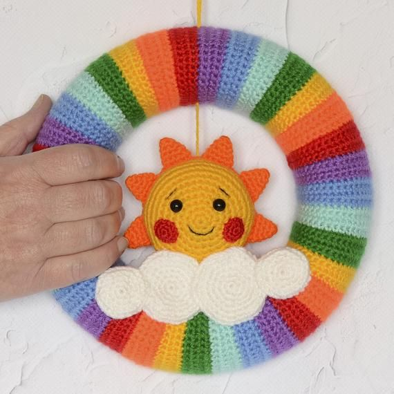 Photo of Crochet Baby Wreath Rainbow Sun Small Door Knitted Wreath  Nursery Wall Hanging Amigurumi Wreath Toy First Gift Baby Playroom Decor Gift