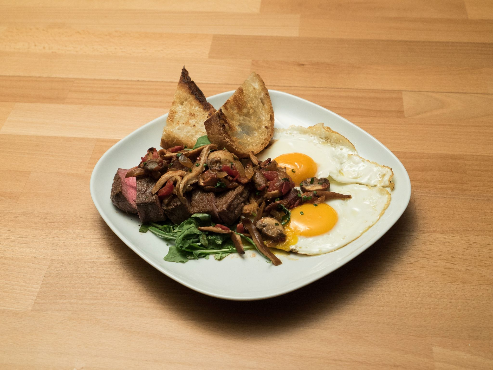 Steak and mushroom hash with a sunny side up egg recipe steak breakfast dishes forumfinder Gallery